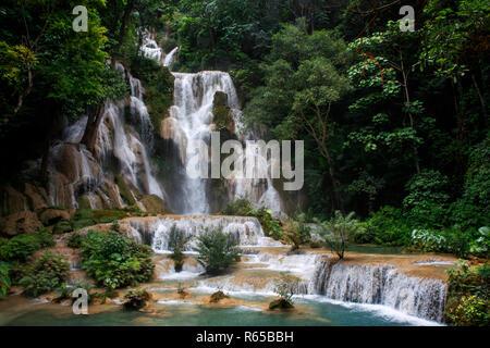 Waterfalls at the Tat Kuang near Luang Prabang in Laos. - Stock Photo