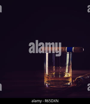 whiskey and cigar relax - Stock Photo
