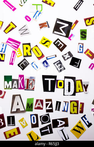 A word writing text showing concept of Make Today Amazing made of different magazine newspaper letter for Business case on the white background with copy space - Stock Photo