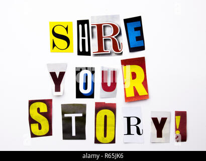 A word writing text showing concept of Share Your Story made of different magazine newspaper letter for Business case on the white background with copy space - Stock Photo