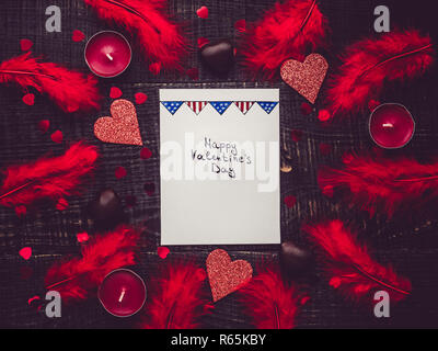Greeting note with handwritten inscription and pattern in the form of the USA flag - Stock Photo