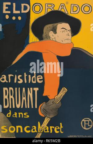 Poster for the performance of Aristide Bruant in the Café-concert Eldorado. Dimensions: 144 cm x 98 cm, 137 cm x 93.5 cm, 151.5 cm x 105.7 cm. Museum: Van Gogh Museum, Amsterdam. Author: de Toulouse-Lautrec, Henri. - Stock Photo