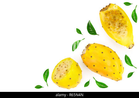 yellow prickly pear or opuntia isolated on a white background with copy space for your text. Top view. Flat lay - Stock Photo