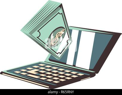 laptop with bills dollars vector illustration design - Stock Photo
