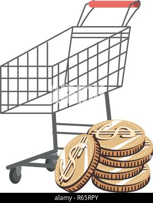 shopping cart with coins money vector illustration design - Stock Photo