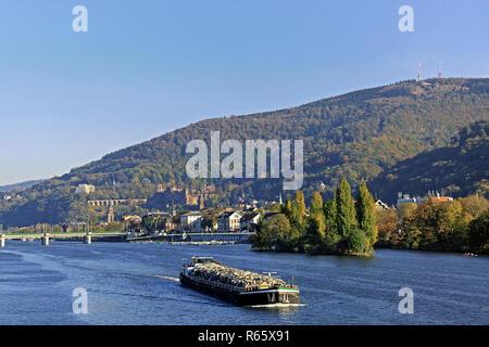 barge on the neckar river near heidelberg - Stock Photo