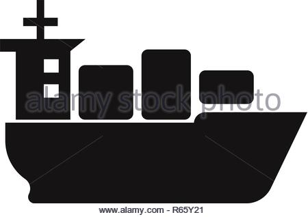 Sea ship with containers icon vector - Stock Photo