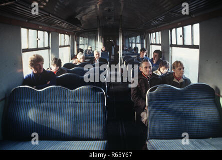 Passengers on the British Rail Preston to Colne railway line, Lancashire, Great Britain - Stock Photo