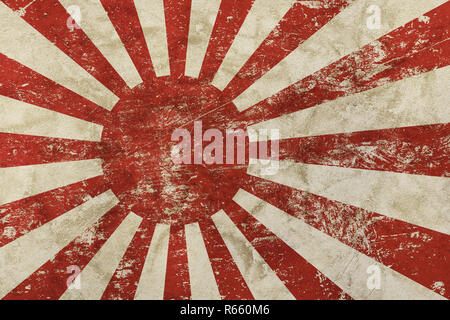 Old grunge vintage faded Japan Nippon flag - Stock Photo