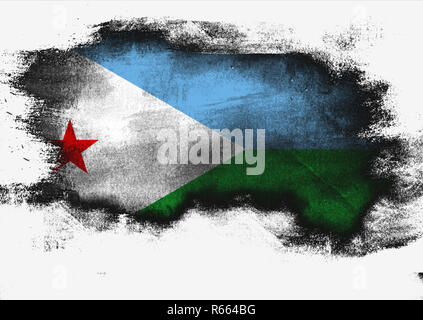 Djibouti flag painted with brush - Stock Photo