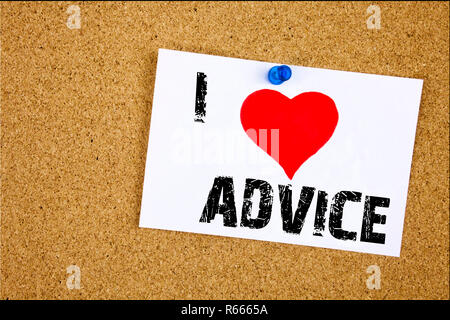 Hand writing text caption inspiration showing I Love Advice concept meaning Suggestion guidance concept Loving written on sticky note, reminder isolated background with copy space - Stock Photo