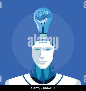 robot with artificial intelligence Stock Photo