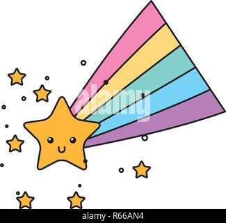 kawaii star and rainbow cartoon - Stock Photo