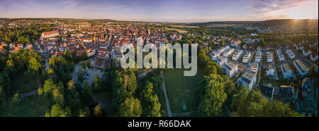 Aerial view of Forchheim old fortress town in Bavaria near Nuremberg Germany - Stock Photo