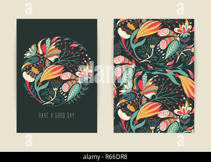 Cover design with floral pattern. Hand drawn creative flower. Colorful artistic background with blossom - Stock Photo