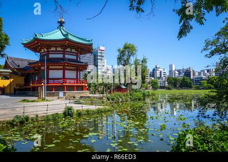 Shinobazu pond and Benten Hall Temple, Ueno, Tokyo, Japan - Stock Photo