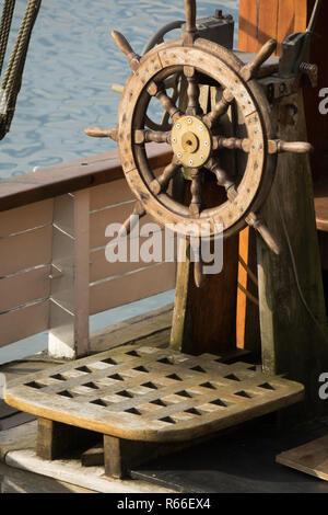Ship steering wheel - Stock Photo