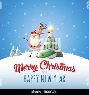 Santa Claus and reindeer decorated Christmas tree - Merry Christmas and happy New year greeting card - Stock Photo