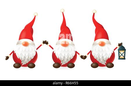Tomte, Nisse, Tomtenisse - three happy cute Scandinavian gnomes celebrate winter solstice - vector illustration isolated on white - Stock Photo