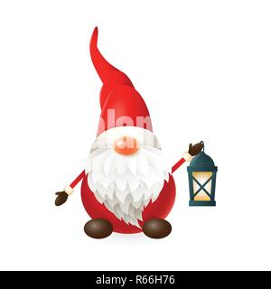 Gnome with lantern isolated on white background - vector illustration - Stock Photo