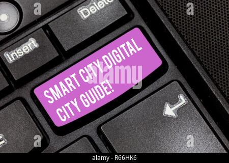 Conceptual hand writing showing Smart City Digital City Guide. Business photo showcasing Connected technological modern cities Keyboard key Intention  - Stock Photo