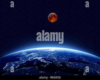 Earth at night as seen from space with blue, glowing atmosphere and space at the top. Perfect for illustrations.  Elements of this image furnished by  - Stock Photo