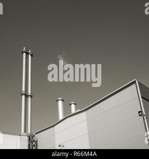 detail of a cogeneration plant in the city center of berlin - Stock Photo