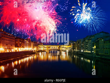 Florence with fireworks - Celebrating New Year in the city - Stock Photo