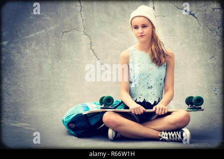 Teenage Skater Girl - Stock Photo