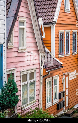 Pink and orange house in Bergen old town - Stock Photo