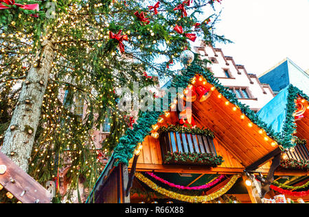 traditional (since 1393) christmas market in frankfurt am main - Stock Photo