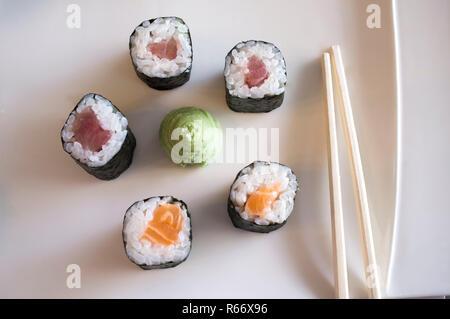 Plate with five makizushi pieces, wasabi sauce and sticks - Stock Photo