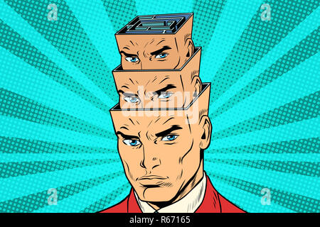 head a maze of personality inside the head - Stock Photo