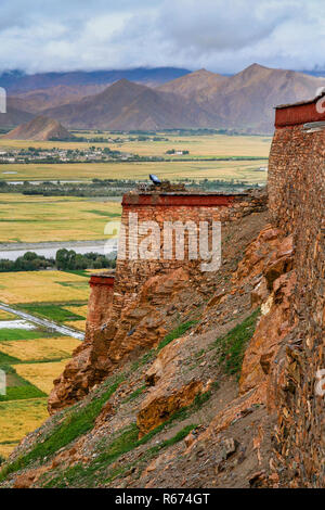 View from Gyantse fort - Stock Photo