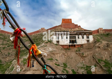 View of the monastery building in Gyantse - Stock Photo