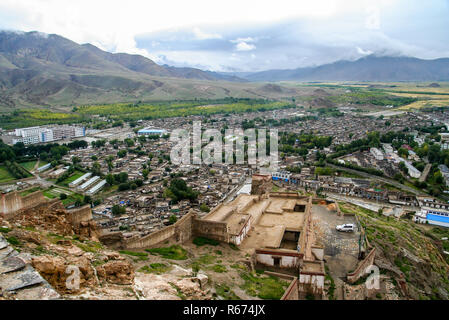 The aerial view of the walled Gyantse town in Tibet - Stock Photo