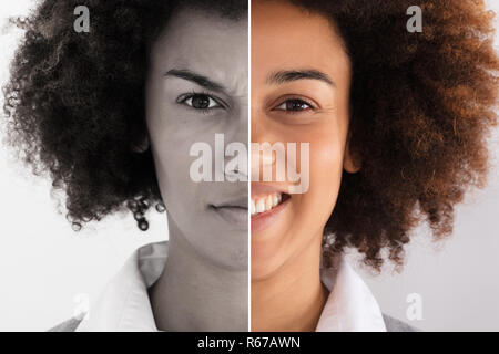 Businesswoman Showing Sad And Happy Emotions - Stock Photo
