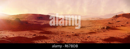 landscape on planet Mars, scenic desert on the red planet - Stock Photo