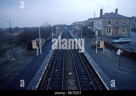 Huncoat railway station on the British Rail Preston to Colne railway station, Lancashire, Great Britain - Stock Photo