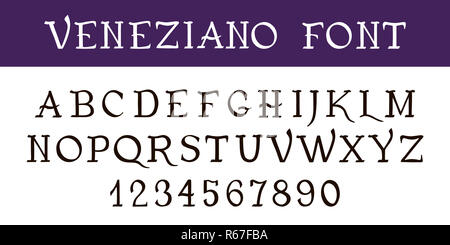 Hand written font calligraphy. Vintage decorative Ink pen font VENEZIANO . Hand drawn letters and numbers - Stock Photo