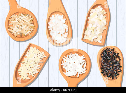 Different types of rice in wooden spoons. Basmati, wild, jasmine, long brown, arborio, sushi - Stock Photo