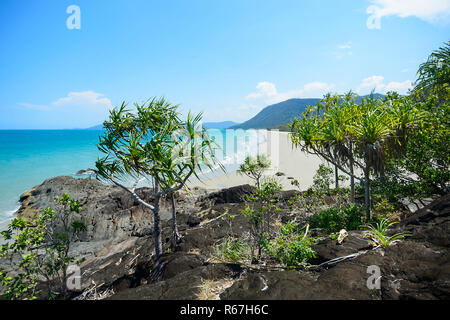 Scenic view of sandy deserted Noah Beach, Daintree National Park, Far North Queensland, FNQ, QLD, Australia - Stock Photo