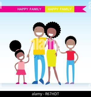 Portrait of four member of African American family posing together and happy smiling. Lovely cartoon characters.Vector illustration - Stock Photo