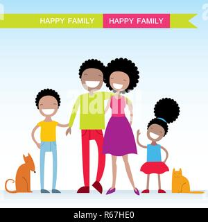 Portrait of four member of African American family with their pets, posing together smiling happy. Lovely cartoon characters.Vector illustration - Stock Photo