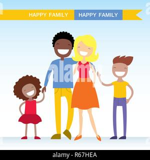 Portrait of four member of mixed race family posing together and happy smiling. Lovely cartoon characters.Vector illustration - Stock Photo