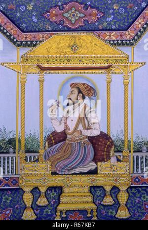 mughal emperor shah Jahan miniature painting - Stock Photo