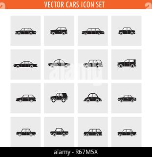 Car icon set in black and white, minimalistic style. Transportation. Vector illustration - Stock Photo