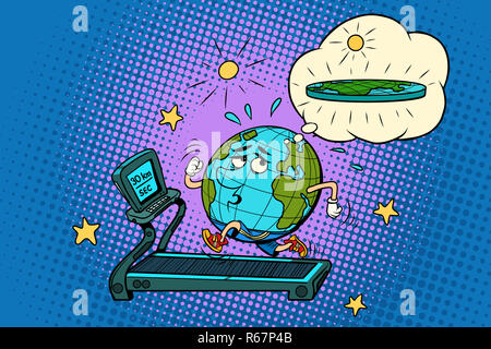 sad Fat Earth on the treadmill. Dream to lose weight. Sport fitn - Stock Photo