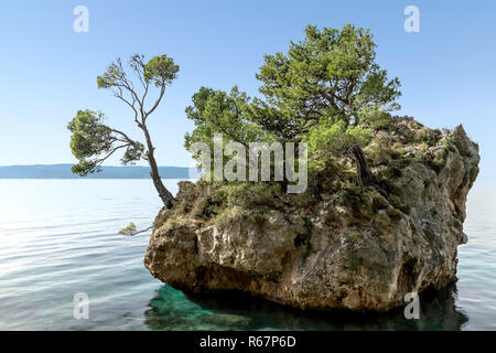 Kamen Brela - Tiny famous island in Brela - Stock Photo