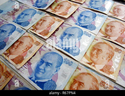 Turkish liras with Ataturk pictures - Stock Photo